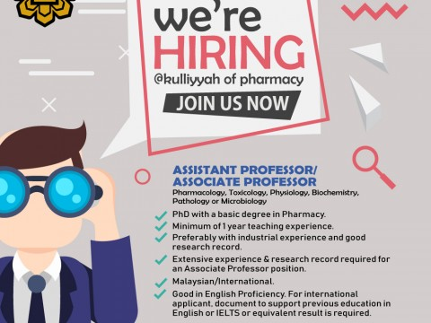 Vacancy - Assistant Professor/Associate Professor in Pharmacology, Toxicology, Physiology, Biochemistry, Pathology or Microbiology