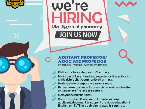 Vacancy - Assistant Professor/Associate Professor in Pharmacy Practice or Clinical Pharmacy