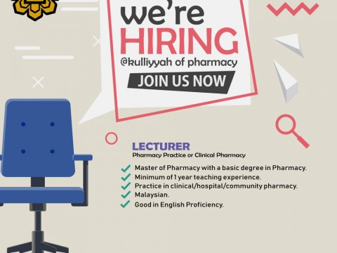 Vacancy - Lecturer in Pharmacy Practice or Clinical Pharmacy