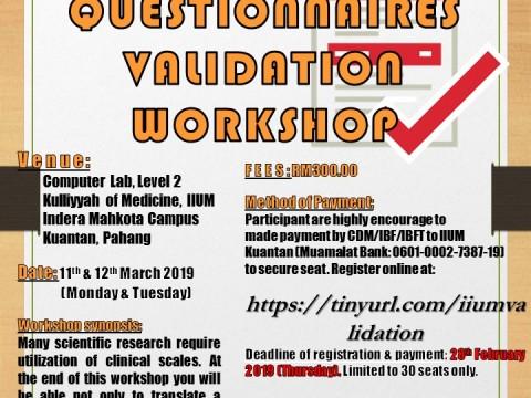 QUESTIONNAIRES VALIDATION WORKSHOP 2019