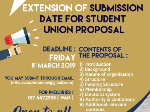 EXTENSION OF SUBMISSION DATE FOR STUDENT UNION PROPOSAL