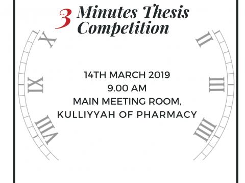 KOP Postgraduate Symposium 2019: '3 Minutes Thesis (3MT)' Thesis Competition