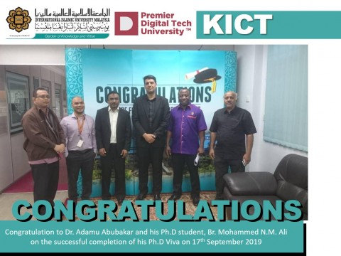 Congratulation to Dr. Adamu Abubakar and his Ph.D student, Br. Mohammed N.M. Ali on the successful completion of his Ph.D Viva