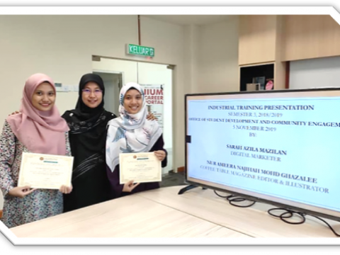 IIUM Pagoh: Industrial Training Presentation at Office of Student Development and Community Engagement (OSDCE)  Kulliyyah of Languages and Management.