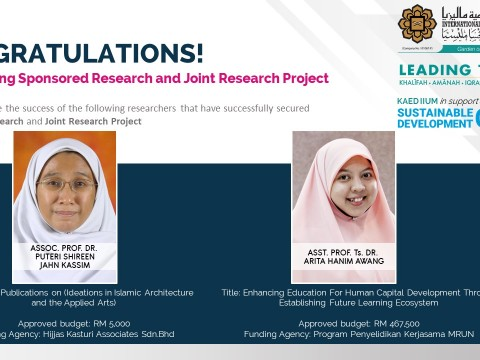 Congratulations for securing Sponsored Research and Joint Research Project!