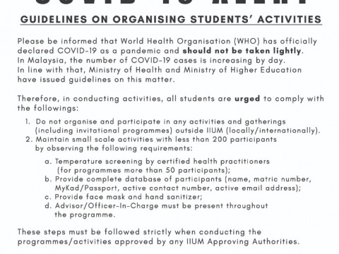 GUIDELINES ON ORGANISING STUDENTS' ACTIVITIES