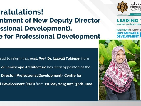 Congratulations! Appointment of New Deputy Director (Professional Development), Centre for Professional Development (CPD).