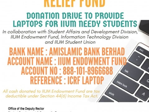 DONATION DRIVE TO PROVIDE LAPTOPS FOR IIUM NEEDY STUDENTS