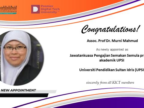 Congratulations to Assoc. Prof. Dr. Murni Mahmud