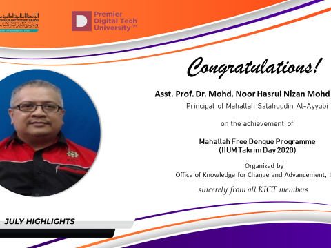 Congratulations  to Asst. Prof. Dr. Noor Hasrul Nizan Mohd Noor
