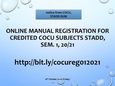 ONLINE MANUAL REGISTRATION FOR CREDITED COCU SUBJECTS STADD, SEM.1, 20/21