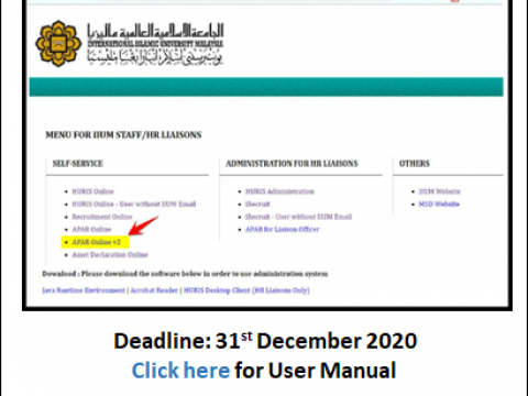 Submission of APAR 2020 for Academic Staff