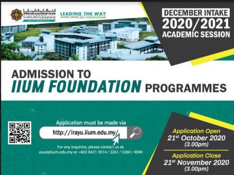 ADMISSION TO IIUM FOUNDATION PROGRAMMES