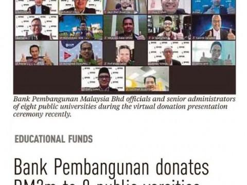 Bank Pembangunan donates RM2M to 8 public varsities