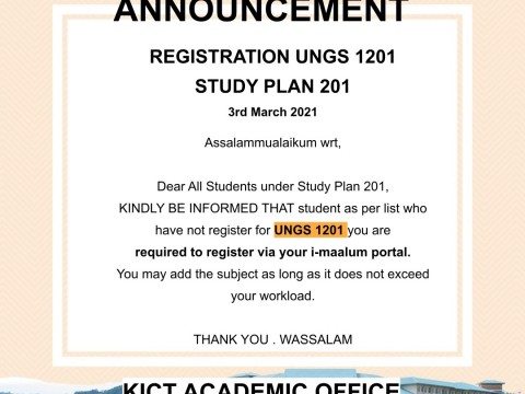 Registration UNGS 1201 Study Plan 201