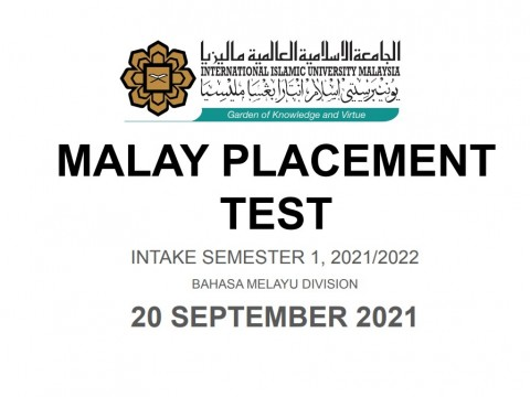 REGISTRATION FOR MALAY PLACEMENT TEST ONLINE