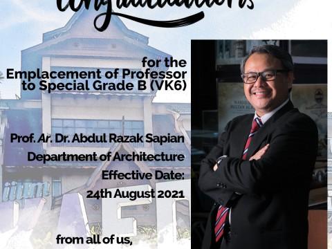 Congratulations to Prof. Ar. Dr. Abdul Razak Sapian!