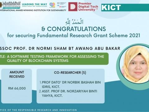 Congratulations Dr. Normi Sham on Securing FRGS 2021