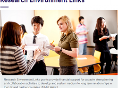 DEADLINE: 8 October 2021, 16.00 UK time, CALL ON RESEARCH ENVIRONMENT LINKS GRANTS