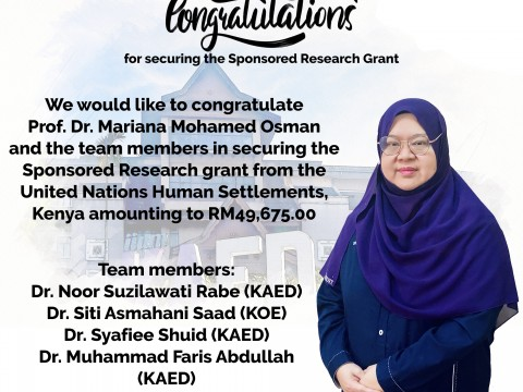 Congartulation for securing the Sponsored Research Grant!
