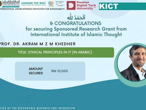 Congratulations to Prof. Dr. Akram M Z M Khedher