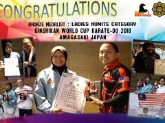 CONGRATULATIONS - BRONZE MEDAL IN LADIES KUMITE CATEGORY, 2018 SHITO-RYU SHUKOKAI KARATE-DO WORLD CUP AND GINSHIKAN CUP, AMAGASAKI, JAPAN