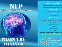 NLP (NEURO-LINGUISTIC PROGRAMMING) (2 - 4 August 2019/Friday - Sunday)