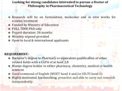 Vacancy for Doctorate's Degree in Pharmaceutical Technology