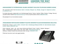 Announcement  of International Islamic University Malaysia Telephone Number Change