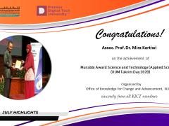 Congratulations on the appointment of Assoc. Prof. Dr. Mira Kartiwi