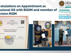 Congratulations on Appointment as Professional QS with BQSM and member of QS Division RISM