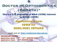 Doctor in Orthodontics (DrOrth) IIUM Programme is Now Open for 2020/2021 Intake