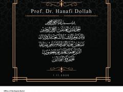 MESSAGE OF CONDELENCE - PROF. DR. HANAFI DOLLAH
