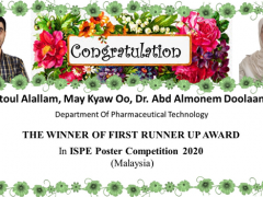 Pharmaceutical Technology Department master student won the first runner up at ISPE poster competition 2020 (Malaysia)