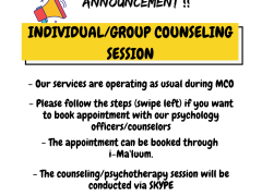 COUNSELING SESSION WILL RUN AS USUAL DURING MCO