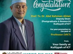 Congratulations  Prof. Ts. Dr. Abdul Rahman Ahlan