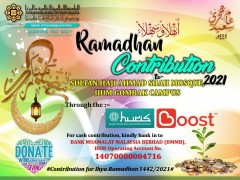 CONTRIBUTION FOR IIUM SHAS MOSQUE (ISM), CENTRIS, GOMBAK CAMPUS AND RAMADHAN PROGRAMMES 1442H/ 2021M.