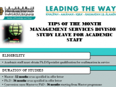Tips of the Month : Study Leave for Academic Staff