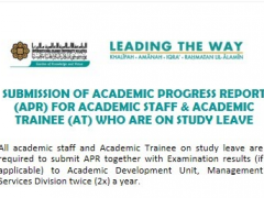 Tips of the Month : Submission of Academic Progress Report (APR) for Academic Staff & Academic Trainee who are on study leave