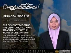 Congratulations to Asst. Prof. Dr Hafizah Noor Isa