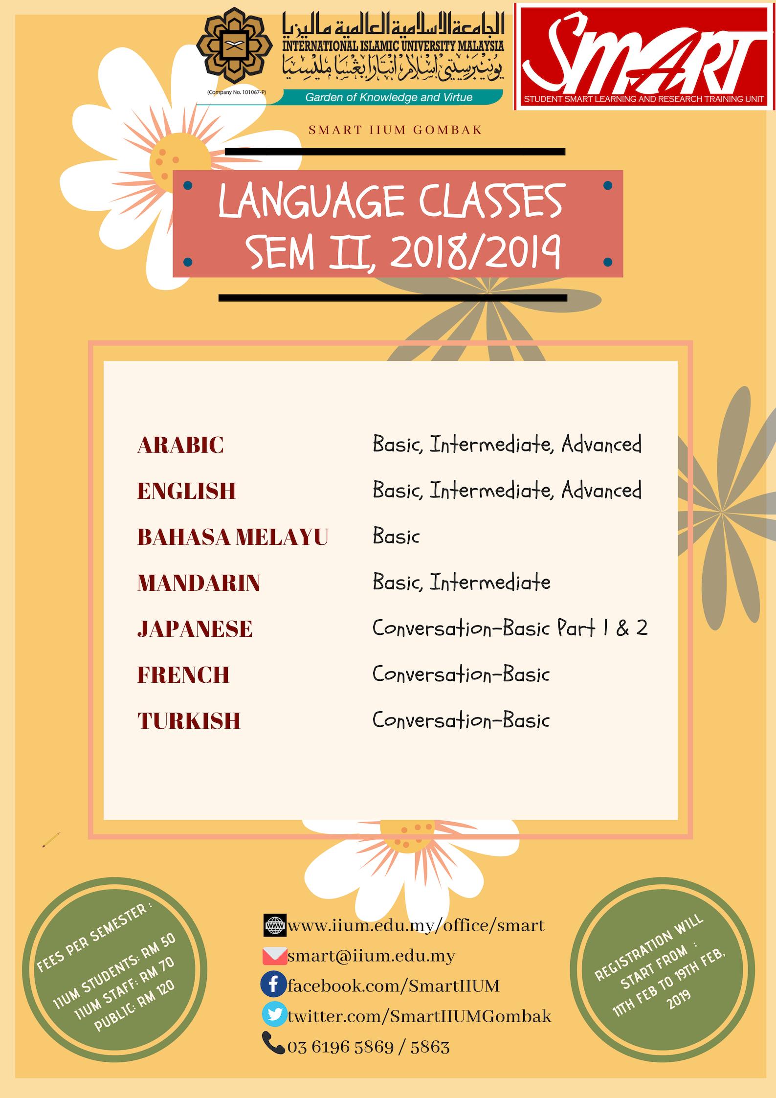 REGISTER FOR LANGUAGE CLASSES, SEM 2, 2018/2019
