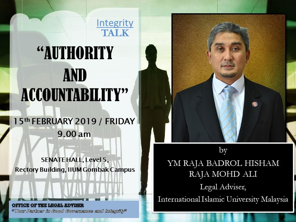 "INTEGRITY TALK: ""AUTHORITY AND ACCOUNTABILITY"""