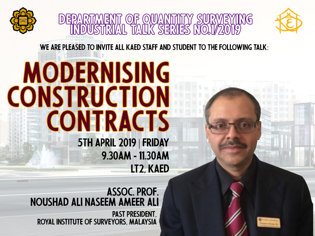 DEPARTMENT OF QUANTITY SURVEYING's INDUSTRIAL TALK SERIES NO.1/2019