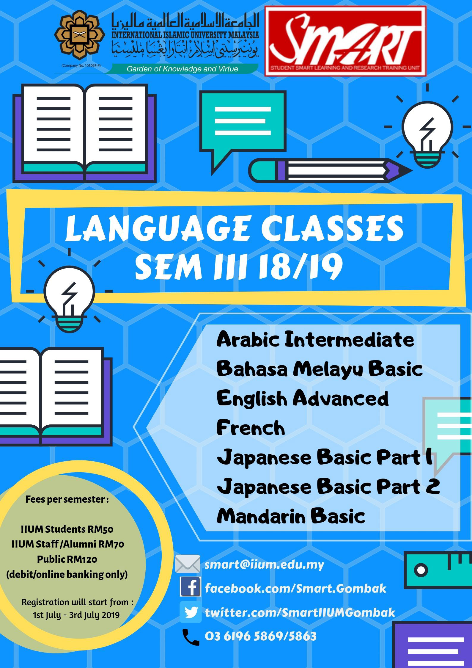COME AND REGISTER : SEM 3, 2018/2019