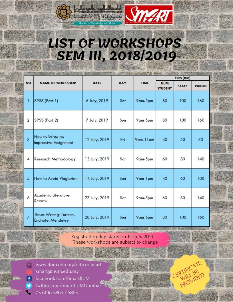 LIST OF WORKSHOP FOR SEM 3, 2018/2019