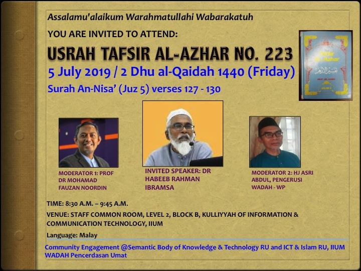 USRAH TAFSIR AL-AZHAR NO. 223