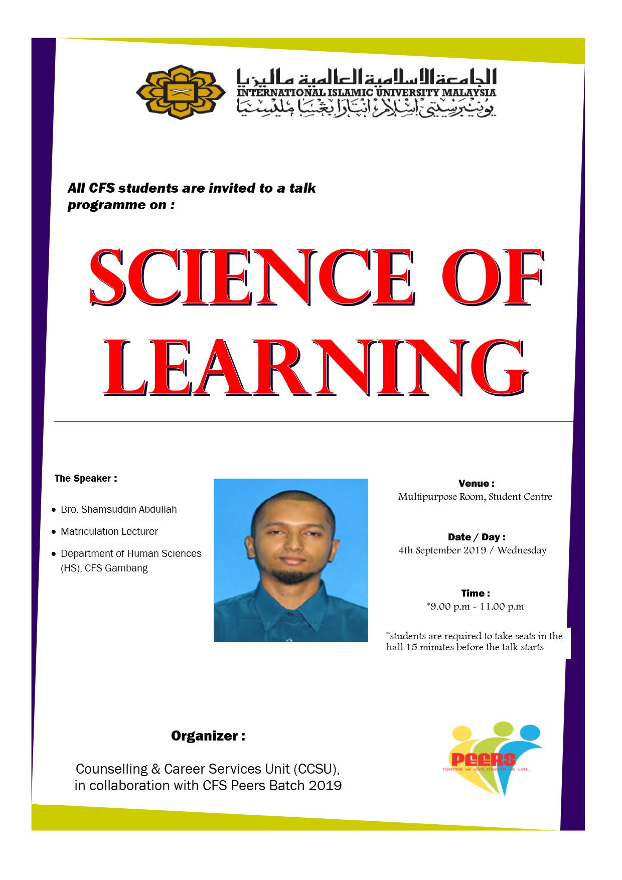Talk Programme on Science of Learning