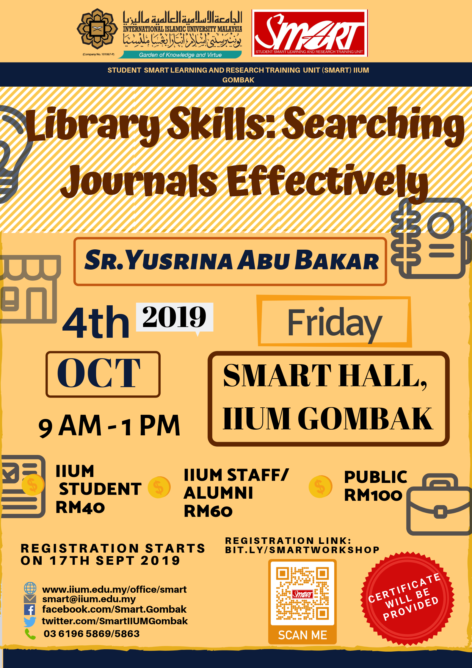 SEM 1, 19/20 - WORKSHOP - LIBRARY SKILLS : SEARCHING JOURNALS EFFECTIVELY
