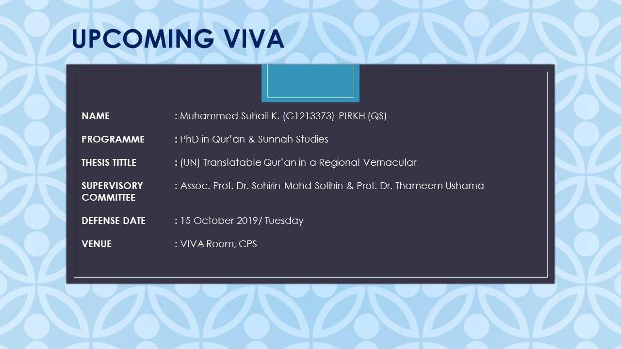 VIVA - Muhammed Suhail K. (G1213373) PIRKHS (QS)