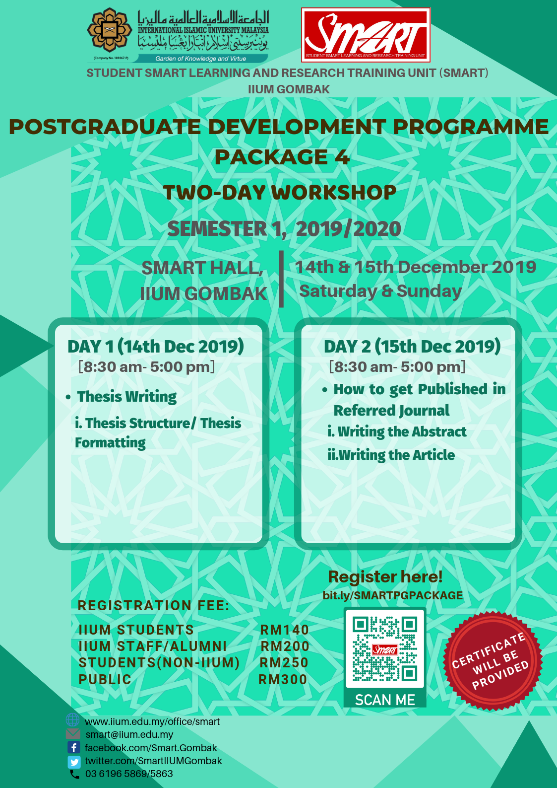 WORKSHOP : POSTGRADUATE DEVELOPMENT PROGRAMME PACKAGE 4